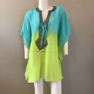 SPIAGGIA DOLCE sheer cover up tunic ombré beaded M